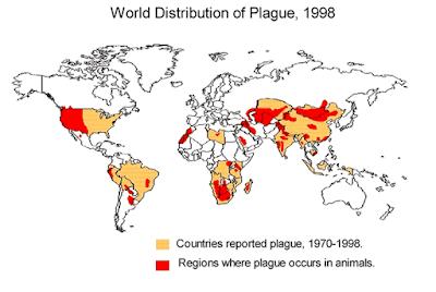 خريطة انتشار الطاعون في العالم