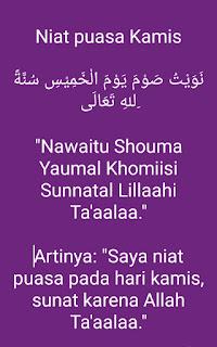 Bacaan niat puasa kamis bahasa Arab dan Indonesia