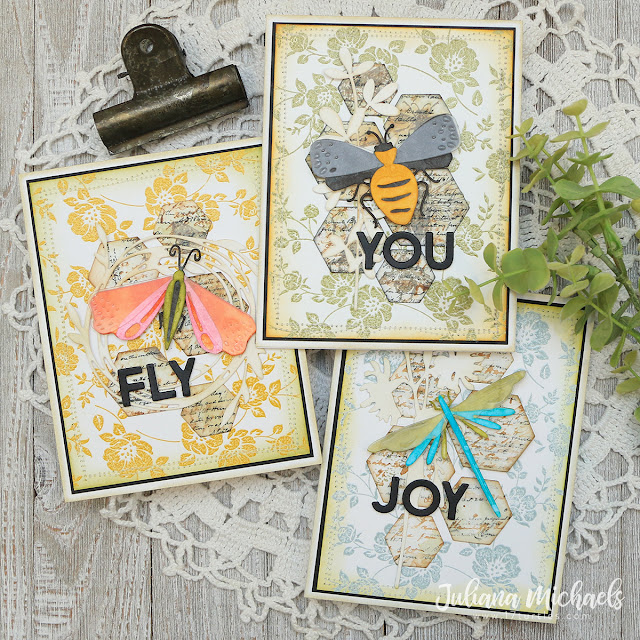 Bee You Cards by Juliana Michaels featuring Tim Holtz Funky Insects Thinlits
