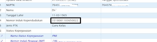 SKTP NIK di Dapodik tidak sama dengan data BKN