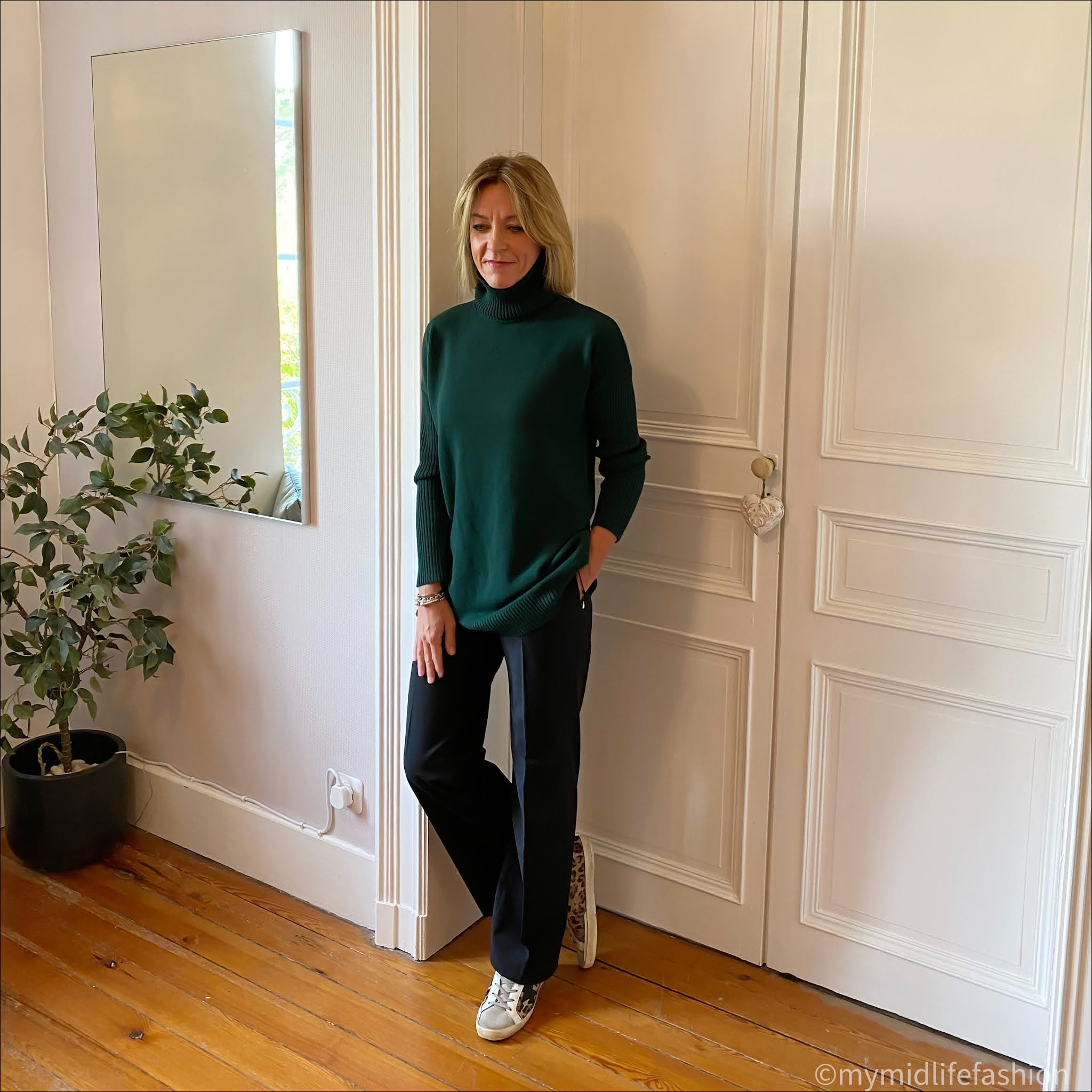 my midlife fashion, baukjen Amelia greencash jumper, baukjen Erika newlife wide leg trouser, golden goose superstar low top leather trainers