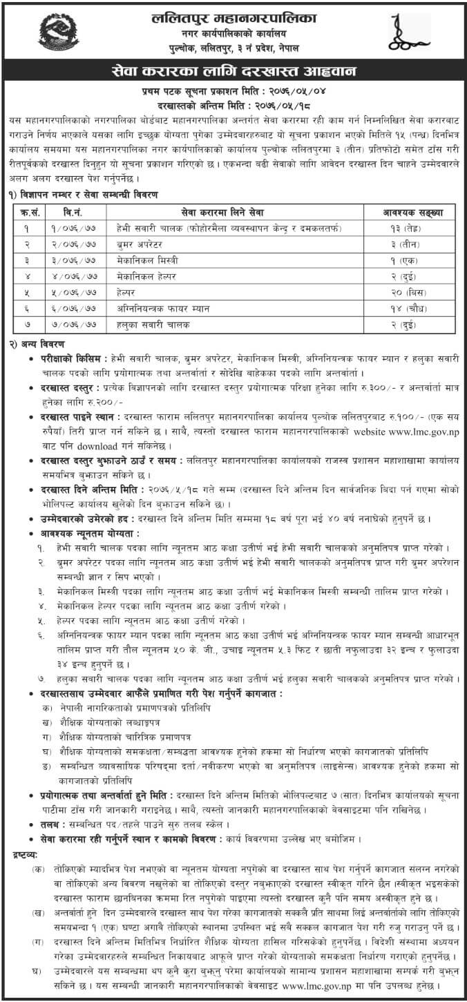 Vacancy Announcement from Lalitpur Metropolitan City, Government of Nepal