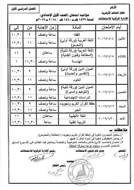موعد وجدول امتحانات المرحلة الابتدائية والاعدادية الازهرية التيرم الأول للعام الدراسي 2018/2019