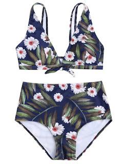 Bikini de talle alto con estampado tropical, de Zaful