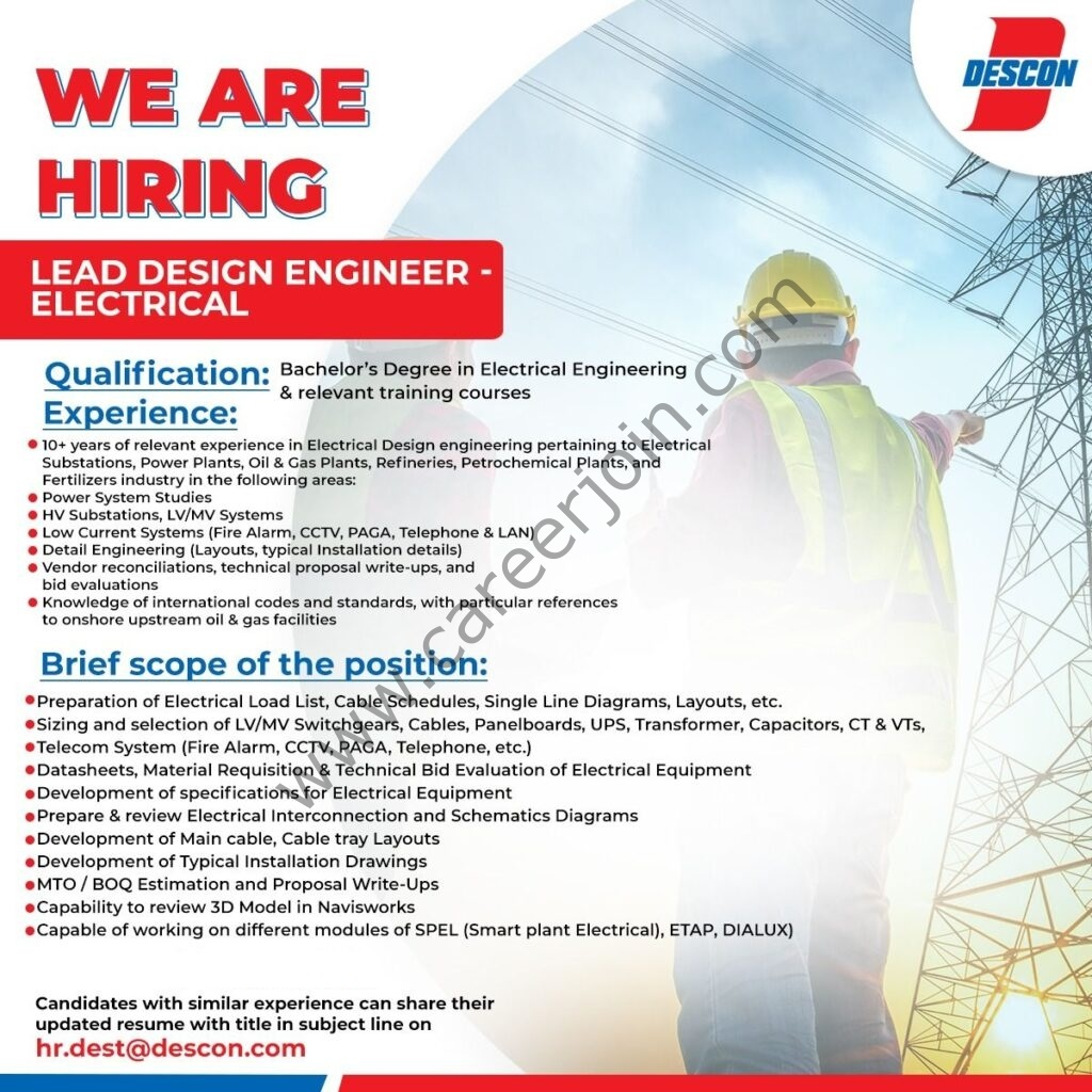 Descon Pakistan Jobs Lead Design Engineer Electrical