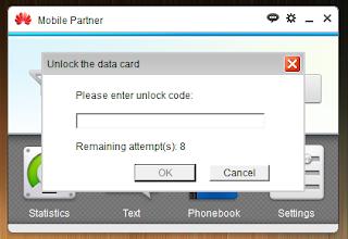 Unlock code popup