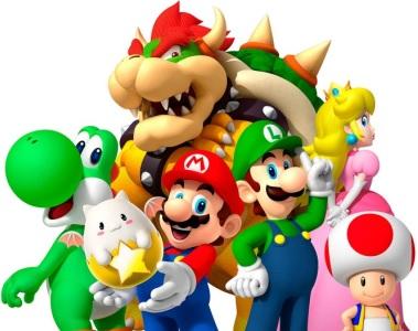Dibujo de Mario Bros posando con los personajes del dibujo Mario Bros