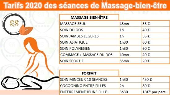 Tarifs 2020 des séances de massage bien-être;