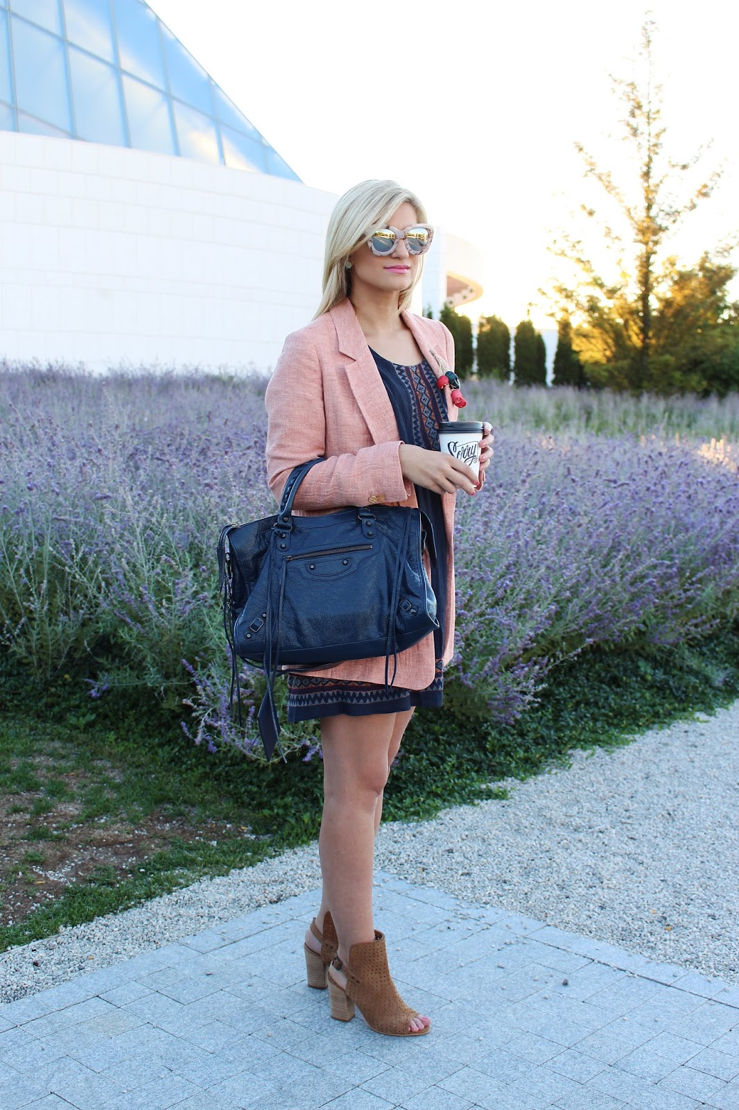 Bijuleni - How to Dress like a Girl Boss: Boyfriend Blazer, navy sundress, ankle booties, Balenciaga City bag.