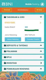 MELIHAT MUTASI REKENING ATAU BUKTI TRANSFER BANK BNI