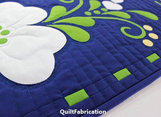 Spring Fling table runner straight line quilting by QuiltFabrication