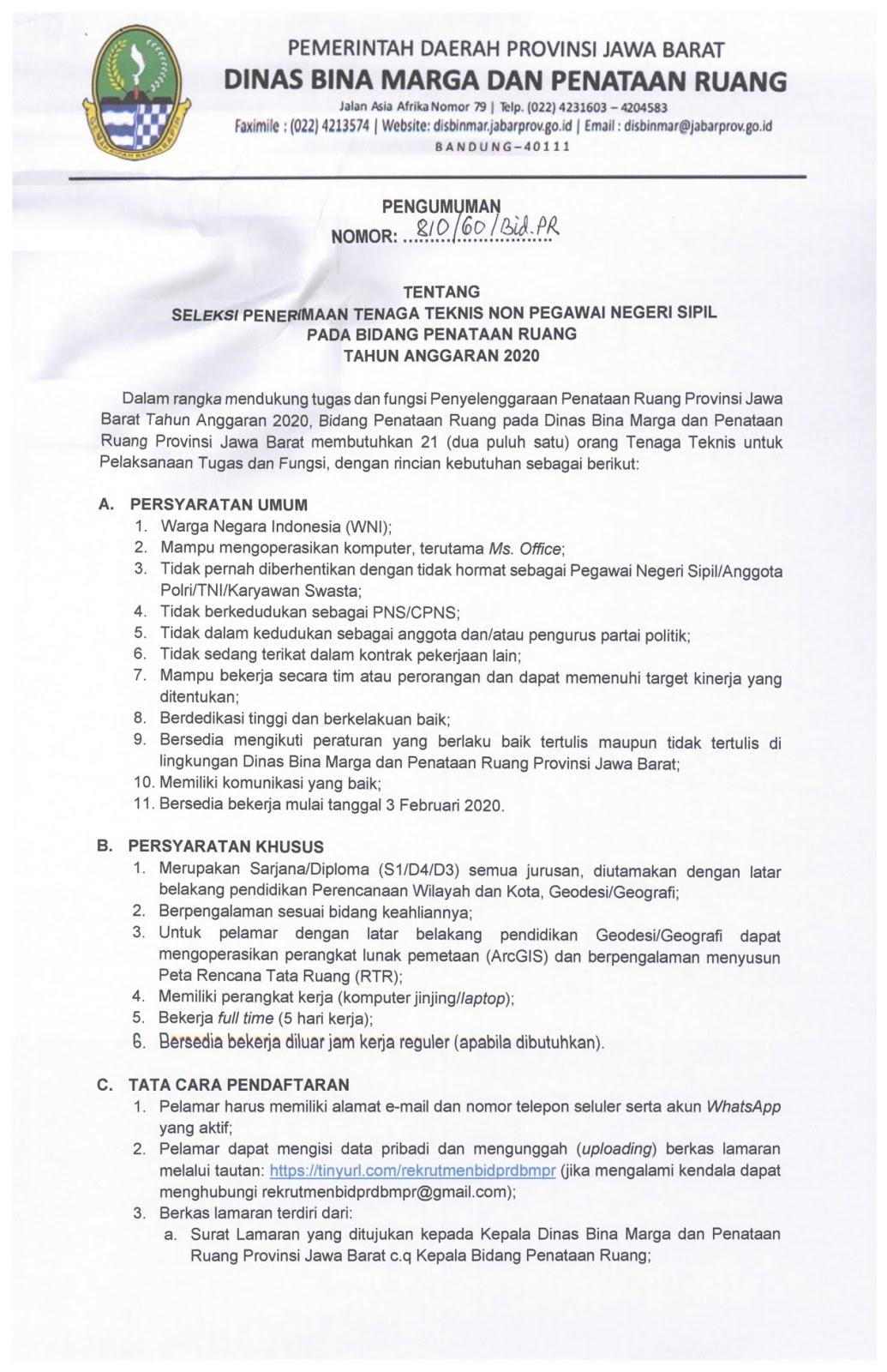 Rekrutmen Non PNS Dinas Bina Marga dan Penataan Ruang Provinsi Jabar Tahun 2020