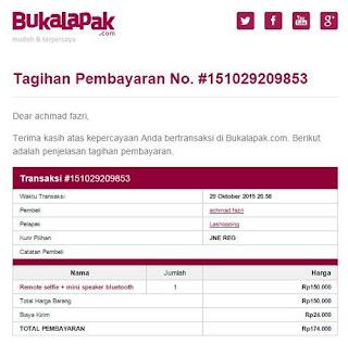 Notifikasi Email tagihan dari bukalapak