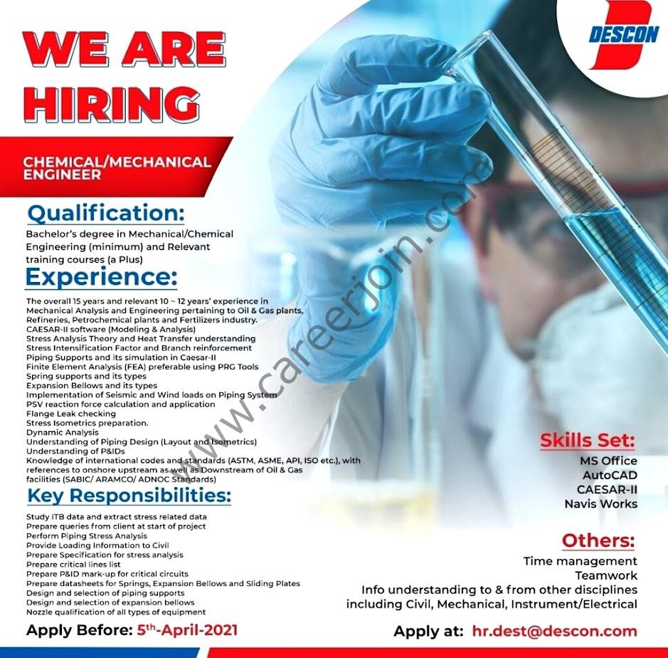 Latest Jobs in Descon Engineer  Pakistan 2021