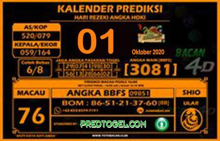 Kalender Prediksi Bacan4D Macau Kamis 01 Oktober 2020