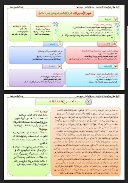 دروس التربية الإسلامية وفق الإطار المرجعي المحين 2021 الثالثة إعدادي