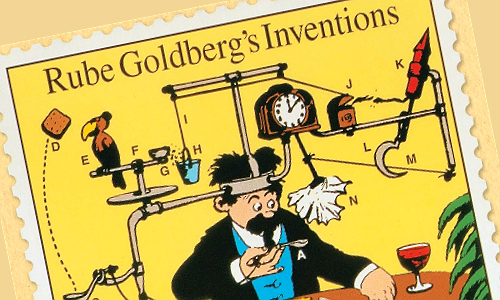 A postage stamp featuring Rube Goldberg's art.