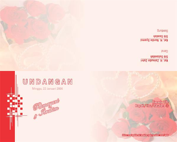 Desain Gratisan Undangan Pernikahan Lipat 2 Warna Merah