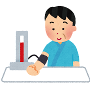 血圧を測っている男性のイラスト