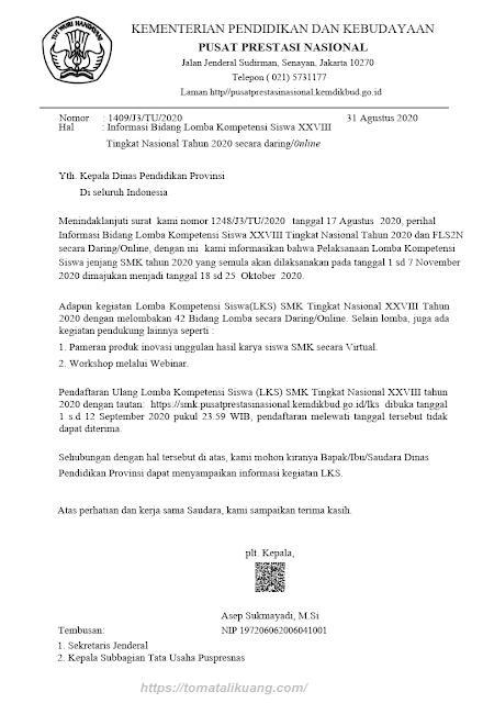 perubahan jadwal lks smk tingkat nasional xxviii tahun 2020 secara daring online tomatalikuang.com
