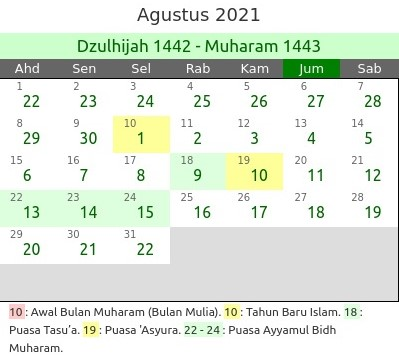 Kalender Hijriyah 2021 dan Jadwal Puasa Bulan Agustus