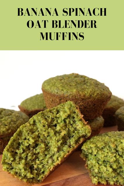 Inside of a banana spinach oat blender muffin.