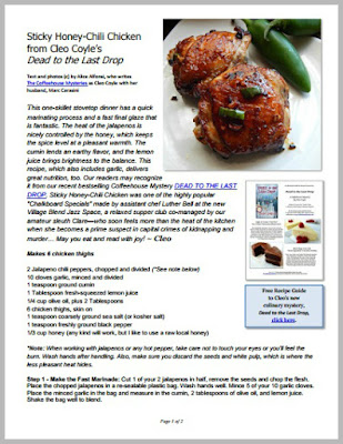 Sticky Honey-Chili Chicken from Dead to the     - Cleo Coyle Recipes com