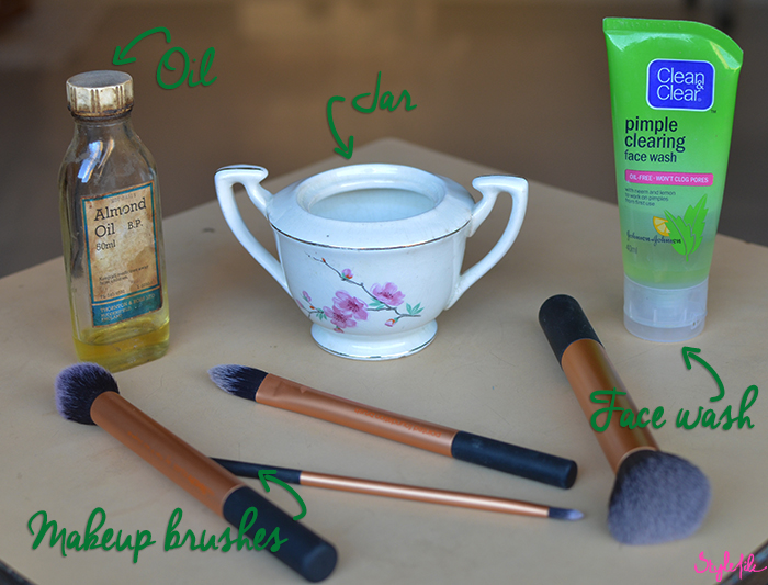 A step by step do-it-yourself tutorial to deep clean your makeup brushes with almond oil, water and face wash on the Style File blog by Dayle Pereira