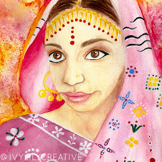 Indian girl watercolor portrait painting