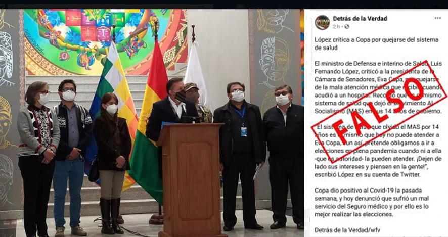 Bolivia Verifica constató la falsedad de la publicación en esa página de Facebook / RRSS