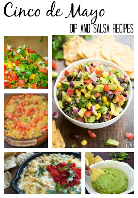 cinco de mayo dips, salsas and guacamole recipe round up