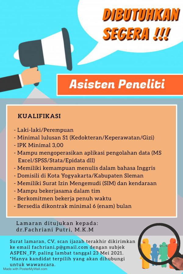 Loker Dokter Asisten Peneliti Domisili Kota Yogyakarta