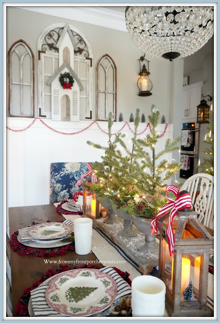 Cottage- Farmhouse- Christmas- Dining- Room-Transferware-Blue & White-DEcor-Christmas Plaid-Mini-Trees-Fairy Lights-Twinkle-Lights-Lanterns-Flameless-Candles- Tablescape-From My Front Porch To Yours