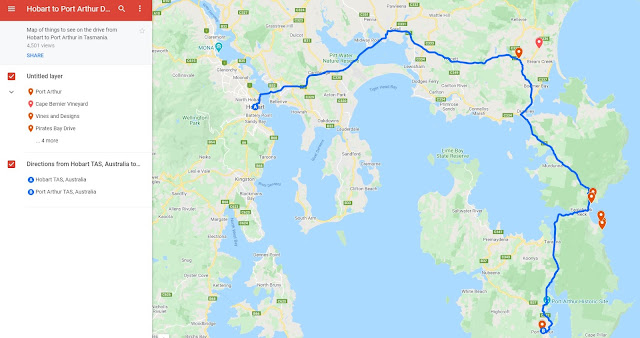 Hobart to Port Arthur Map