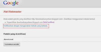 Memasang Kode Google Site Verification