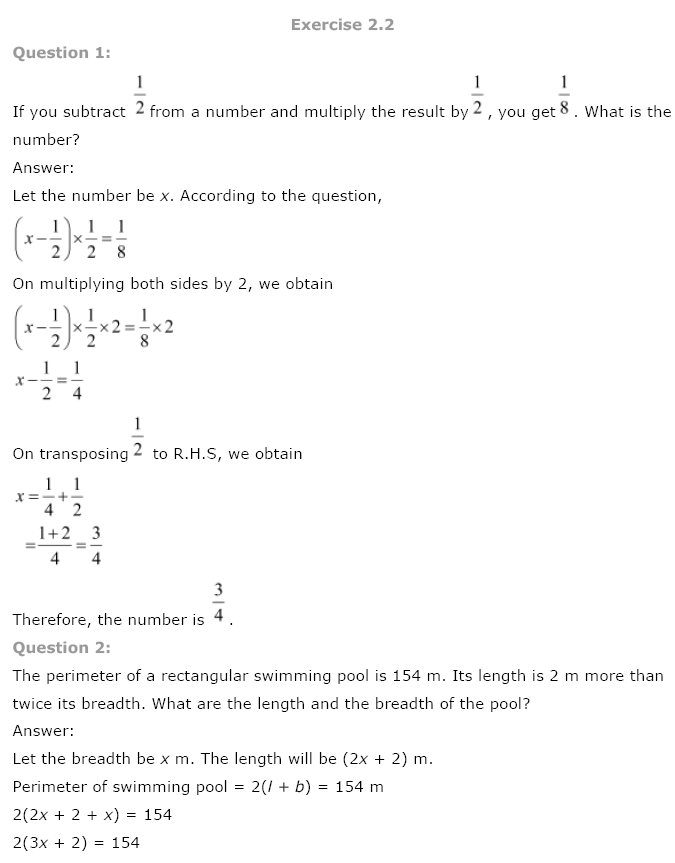 NCERT Solutions for Class 8 Maths Chapter 2 Linear Equations in One Variable