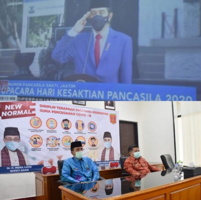 Upacara Peringatan Hari Kesaktian Pancasila di saksikan langsung oleh Pjs Bupati kab.Agam secara Virtual