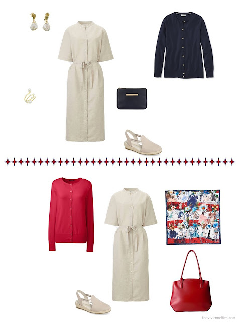 2 ways to style a beige dress in a business capsule wardrobe