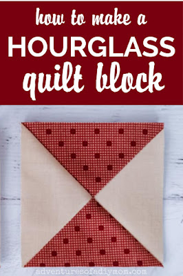 hour glass quilt block pin