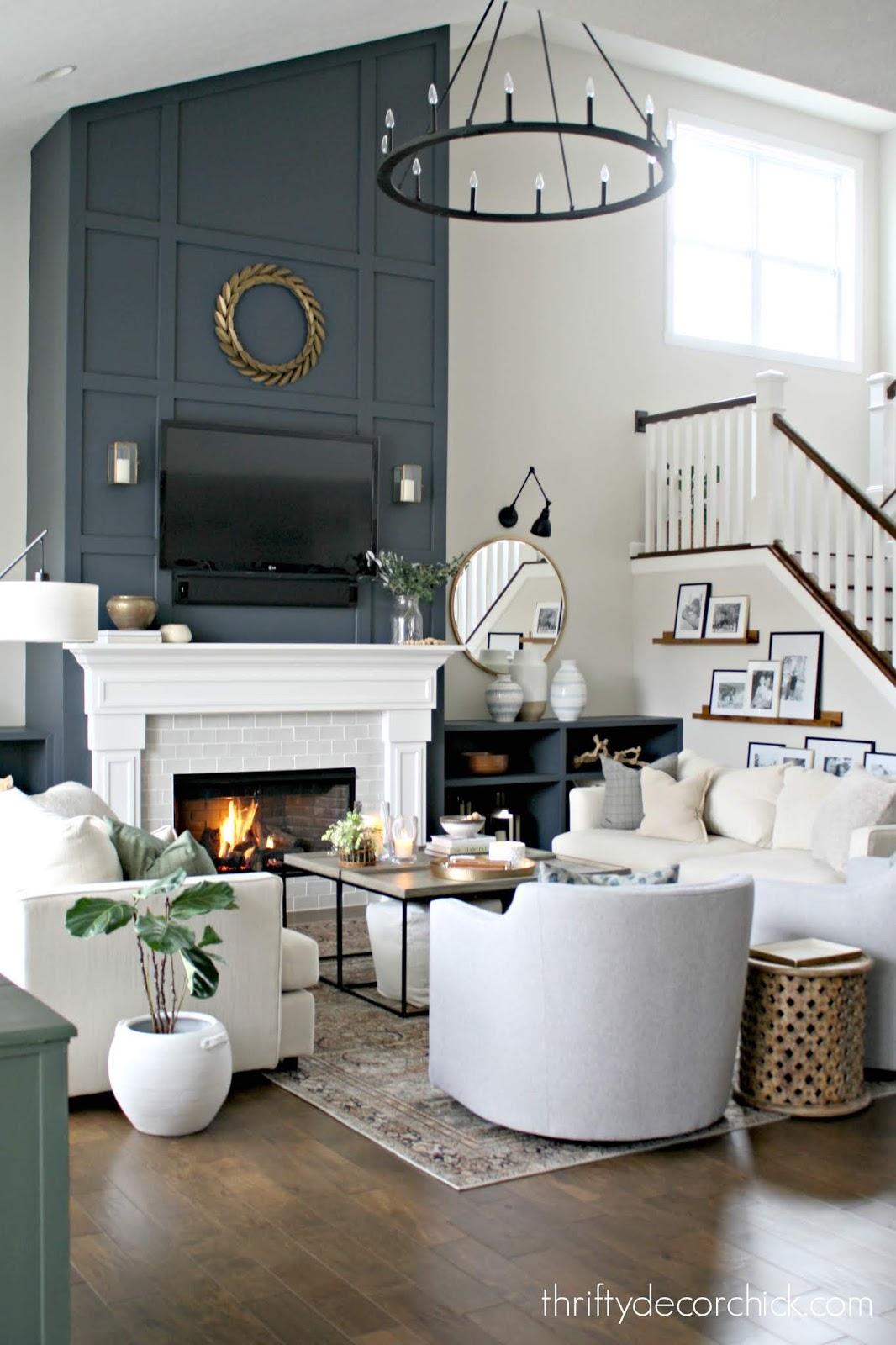 Dark blue tall fireplace updates