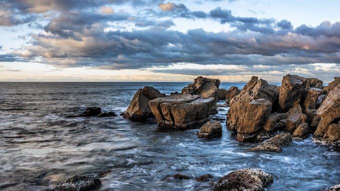 Plano de Fundo Nuvens, Oceano, Mar, Rochas, Pedras
