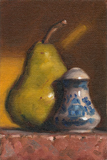 Still life oil painting of a blue and white salt shaker beside a green pear.