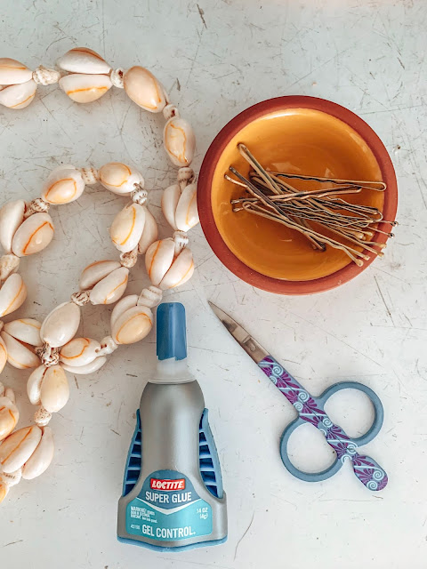 supplies for DIY shell hair barettes for boho braids