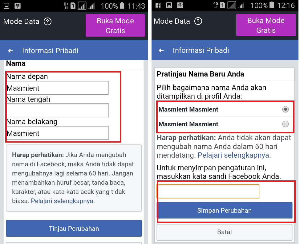 Cara Mengganti Nama Fb Lewat Hp Android Canggih Nasabah Media