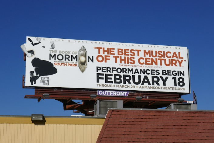 Book of Mormon Musical LA 2020 billboard