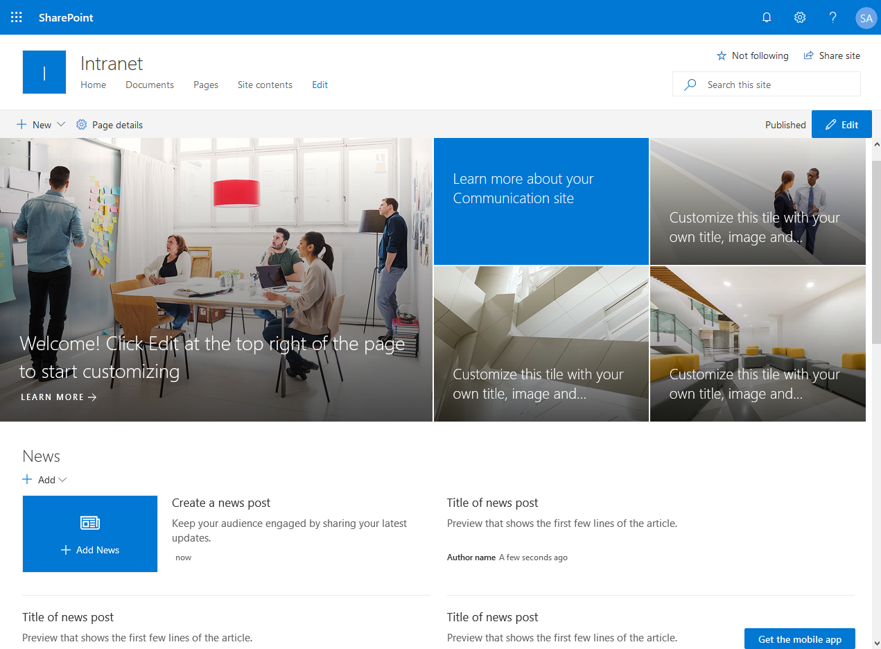 create new communication site sharepoint online