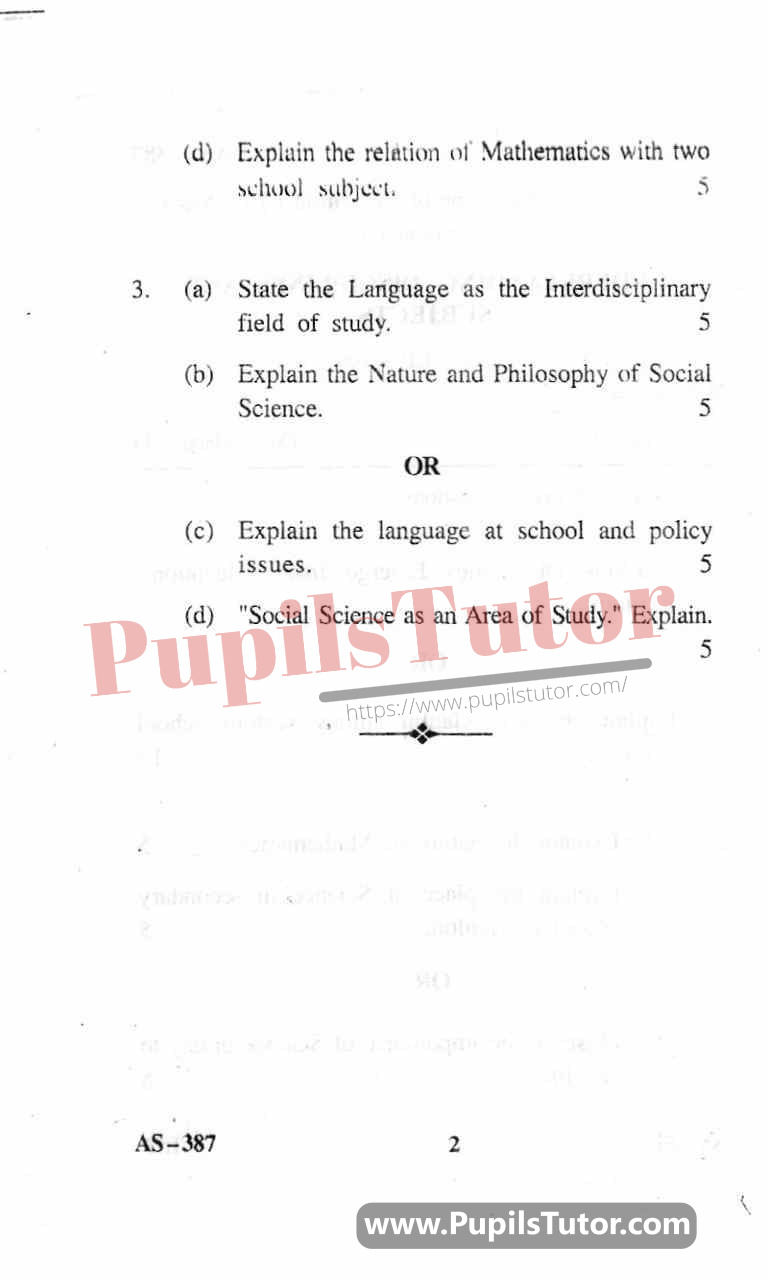 Understanding Discipline And Subjects Question Paper In English