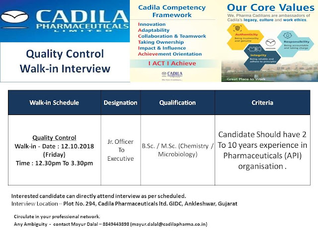 Cadila Pharmaceuticals Ltd  Walk in Interviews For Quality Control at 12 October