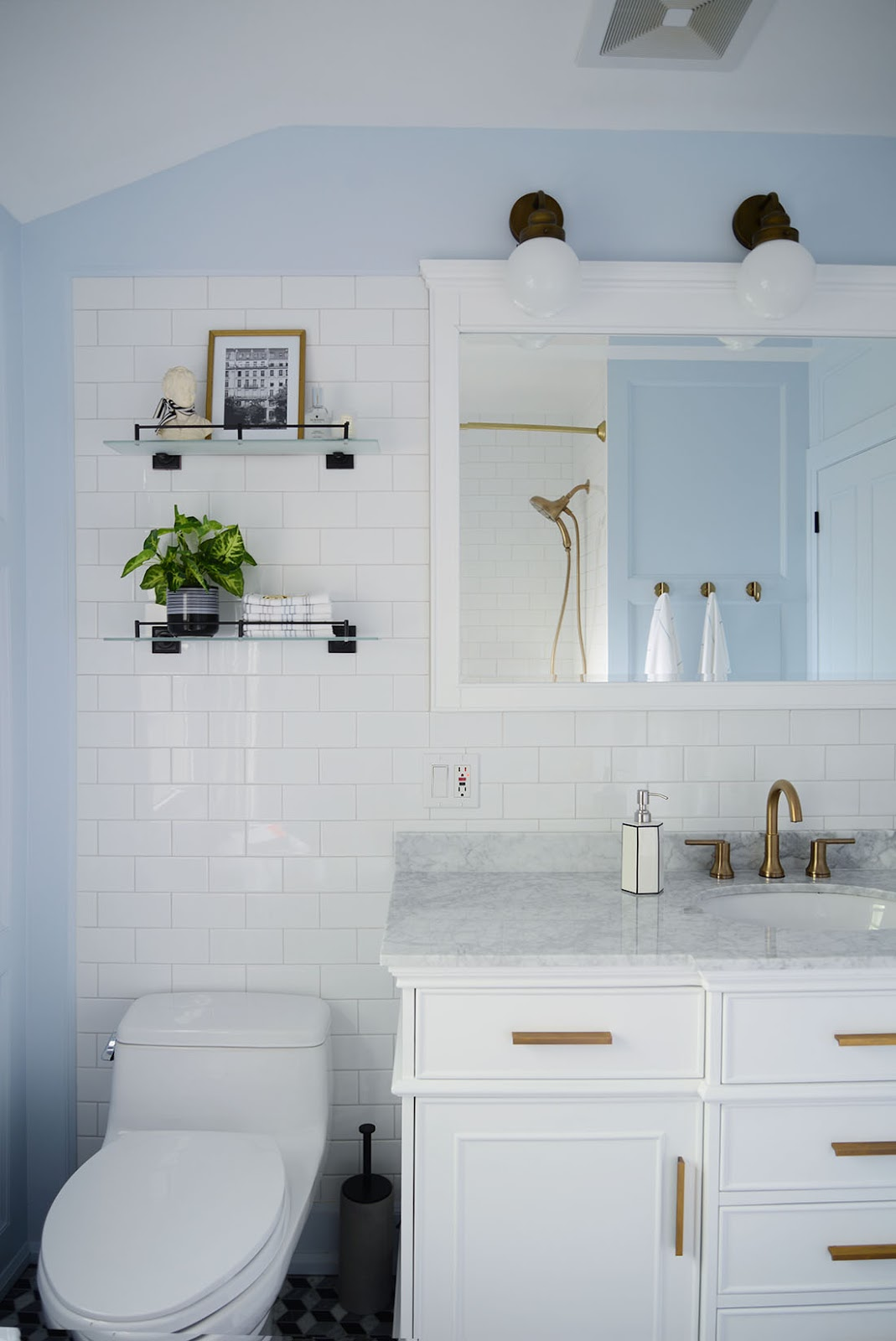 french style bathroom, home depot bathroom remodel, light blue bathroom, single sink white vanity, diy wall panelling in bathroom