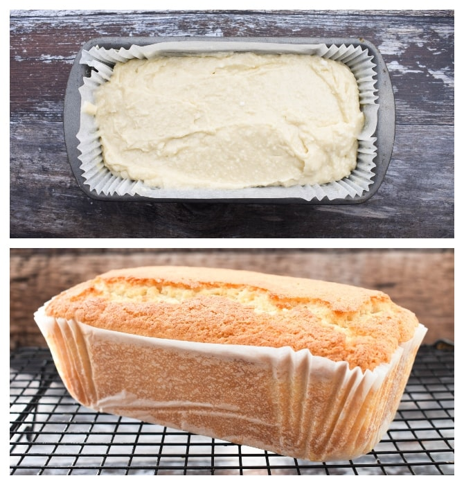 Making coconut cake - step 4 - mixed cake batter in loaf tin, then baked cake